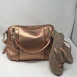 Rebecca Minkoff rose gold leather shoulder bag